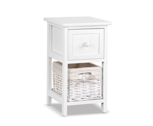 2 PCS JOSEPHINE 1 DRAWER BEDSIDE TABLE - WHITE