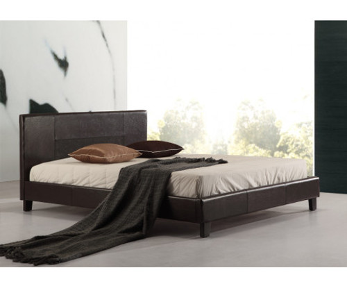 DOUBLE MORRILTON LEATHERETTE BED FRAME - BROWN