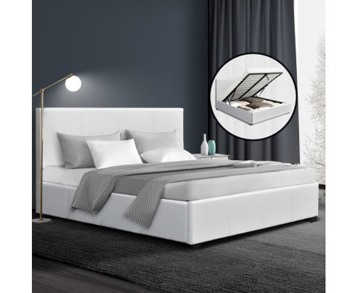 DOUBLE NINO LEATHERETTE GAS LIFT BED  - WHITE