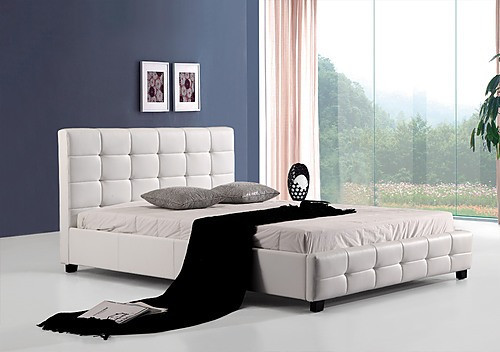 DOUBLE ALNAIR DELUXE LEATHERETTE BED FRAME - WHITE