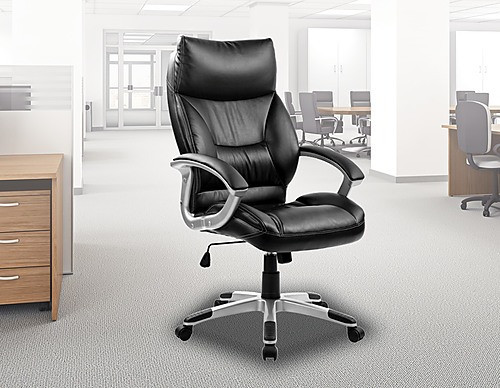 ASTEROPE PADDED BACK EXECUTIVE LEATHERETTE OFFICE CHAIR - BLACK