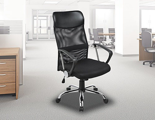 AVIOR ERGONOMIC MESH LEATHER OFFICE CHAIR - BLACK