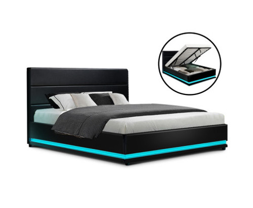 DOUBLE RHEMALYN LEATHER GAS LIFT BED - BLACK