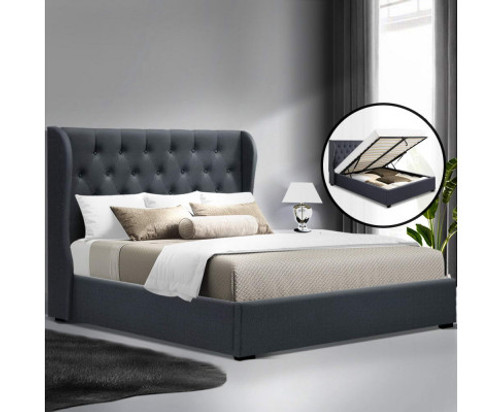 DOUBLE JACOB FABRIC GAS-LIFT STORAGE BED - CHARCOAL