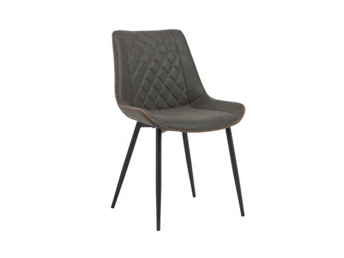 CHANNING  DINING CHAIR (WITH ANTIQUE PU COVER) - BLACK