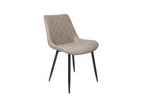 CHANNING  DINING CHAIR (WITH ANTIQUE PU COVER) - GREY