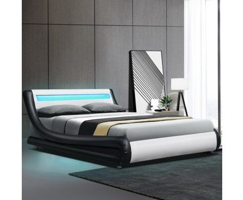DOUBLE ALEXANDER LEATHER BED WITH LED LIGHT - BLACK & WHITE