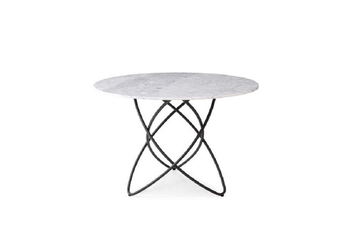 ARIA DINING TABLE  - 1100(L) X 1100(W) - NATURAL MARBLE / BLACK