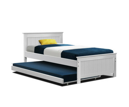 SINGLE QUINNIE BED WITH UNDERBED PULL OUT TRUNDLE - WHITE