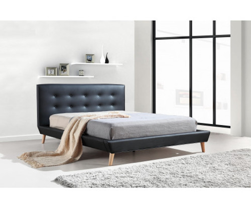 DOUBLE PALERMO PU LEATHER BED - BLACK