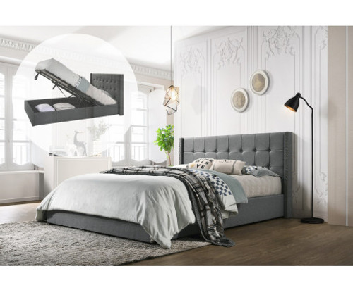 DOUBLE ADRIANNE FABRIC GAS LIFT STORAGE BED - LIGHT GREY