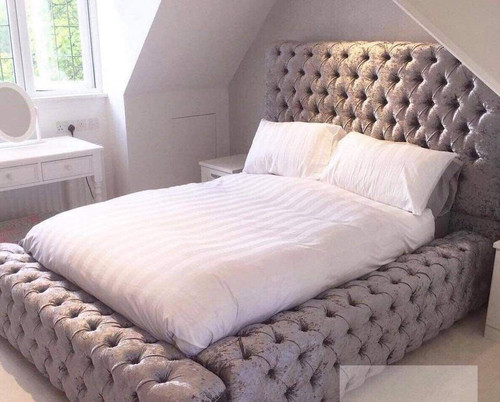 DOUBLE MACLEAN FABRIC BUTTONED BED WITH GAS LIFT - AS PICTURED