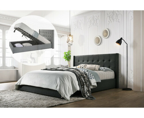 DOUBLE ADRIANNE FABRIC GAS LIFT STORAGE BED - CHARCOAL