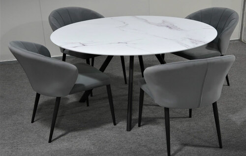 CIRCLE DINING CHAIR (1 x CHAIR ONLY) - GREY VELVET