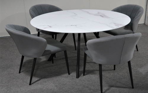 CIRCLE 5 PIECE ROUND DINING SETTING - 1200(W) x 1200(D) - WHITE MARBLE EFFECT