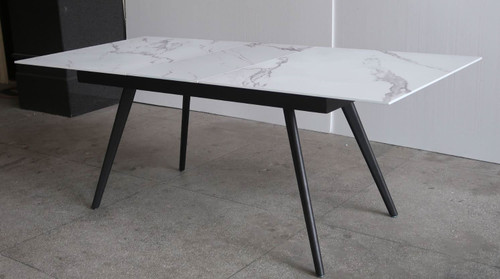 CIVIC EXTENSION DINING TABLE - 1600(W) x 900(D) - WHITE MARBLE EFFECT / GREY VELVET