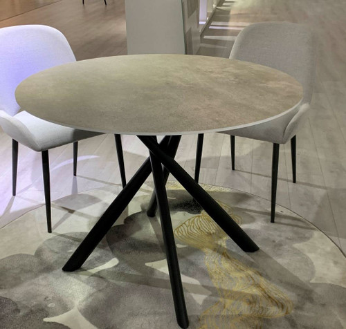 CROWN ROUND DINING TABLE ONLY - 1200(W) x 1200(D) - GREY MARBLE EFFECT