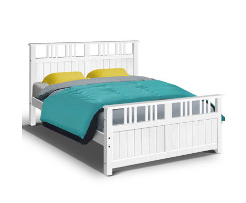 DOUBLE SERAPHIM TIMBER BED - WHITE