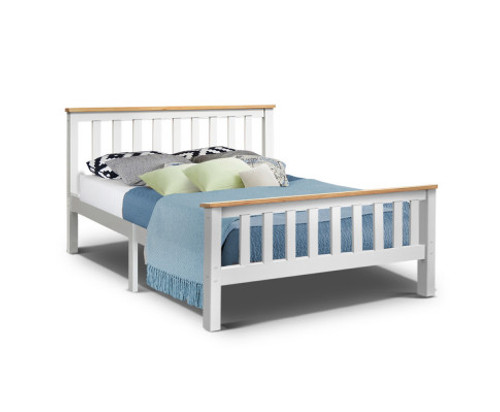DOUBLE LAWRENCE TIMBER BED FRAME - WHITE (TWO-TONED)