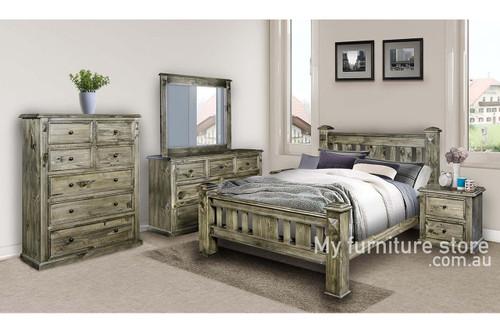 DOUBLE LEGIONS BED (WDB) - GREYWASH