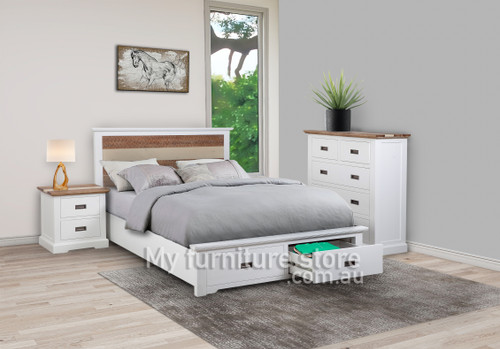 DROVER QUEEN 4 PIECE (TALLBOY) BEDROOM SUITE WITH 2 FOOT END DRAWERS - TWO TONE