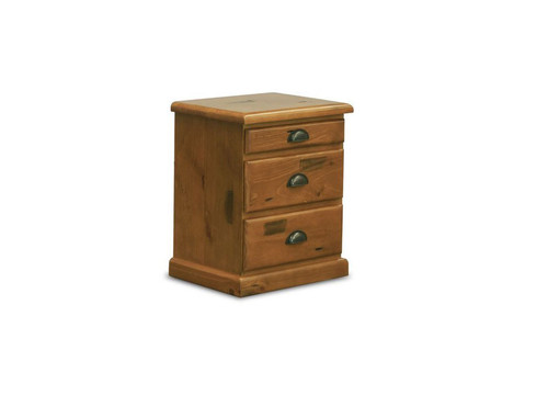 BATHURST BEDSIDE WITH 3 DRAWERS - RUSTIC