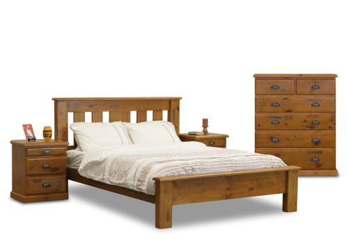 BATHURST KING 3 PIECE (BEDSIDE) BEDROOM SUITE - RUSTIC