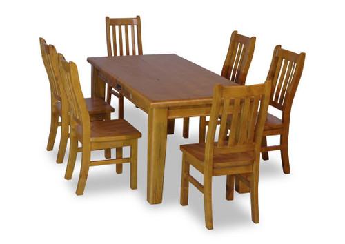 BATHURST 7 PIECE DINING SETTING - 1800(W) X 900(D) - RUSTIC