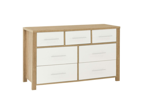 AMAZING 7 DRAWER DRESSING TABLE WITHOUT MIRROR (MODEL:3-18-5) - OAK & WHITE