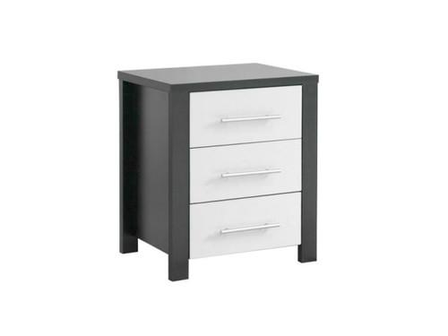 AMAZING 3 DRAWER BEDSIDE TABLE (MODEL:3-18-5) - WALNUT & WHITE