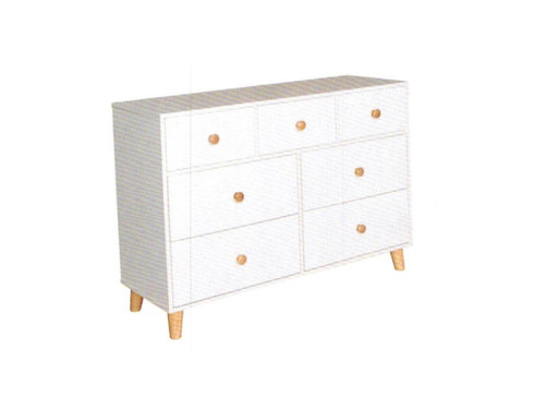 FANTASTICAL / ACACIA 7 DRAWER LOWBOY - 780(H) x 1200(W) - WHITE