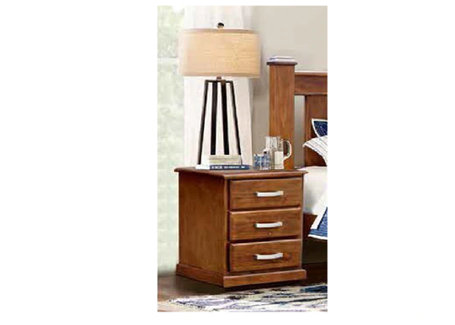 ARIZONA 3 DRAWER SOLID TIMBER  BEDSIDE TABLE -  COUNTRY WALNUT