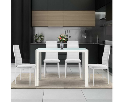 DENVER 5 PIECE DINING SETTING WITH 1050(L) x 600(W) DINING TABLE - WHITE