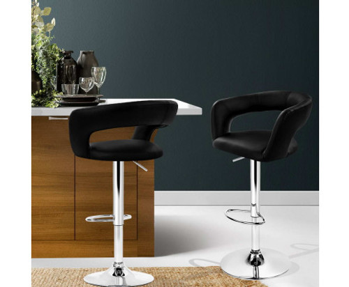 BELLANCE (SET OF 2) SWIVEL GAS LIFT BAR STOOL  - BLACK