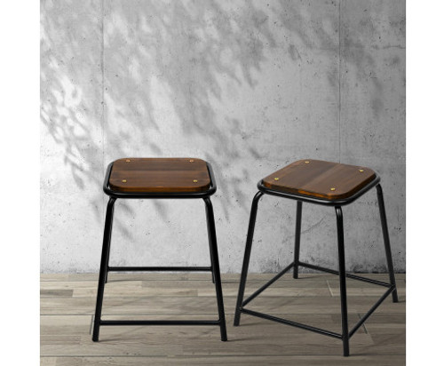 CADENCE (SET OF 4) PINE WOOD BAR STOOLS - BLACK