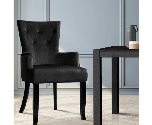 ANTHEA FABRIC DINING CHAIR - BLACK