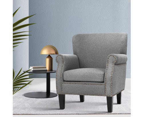 ACIER FABRIC ACCENT CHAIR - GREY VELVET