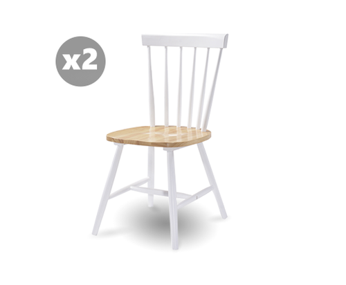 CECILIA (SET OF 2) TWO TONED SOLID RUBBERWOOD DINING CHAIR - DANISH NATURAL OAK + WHITE
