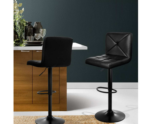 CHANNING (SET OF 2) PU LEATHER GAS LIFT BAR STOOLS - BLACK