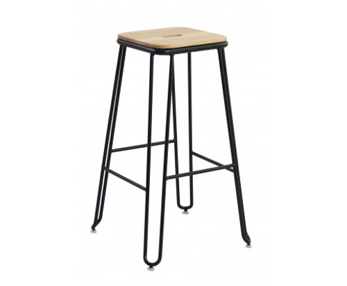 CHIKO ASH WOOD AND STEEL INDUSTRIAL BAR STOOL - BLACK