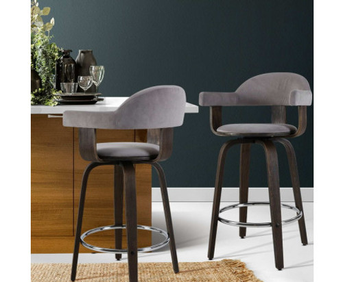 CONNELLY (SET OF 2) WOODEN SWIVEL BAR STOOLS - GREY