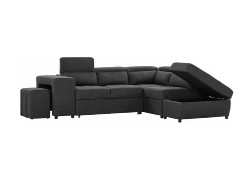 CLAUSS FABRIC 2  SEATER  + CHAISE WITH OTTOMAN  - RHINO/CHARCOAL