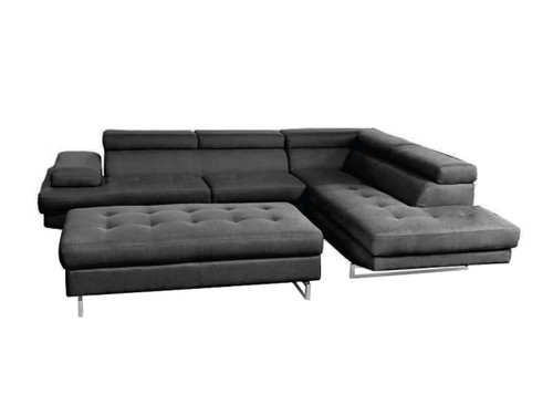 ALEXEI FABRIC CORNER LOUNGE  SUITE WITH OTTOMAN - BLACK