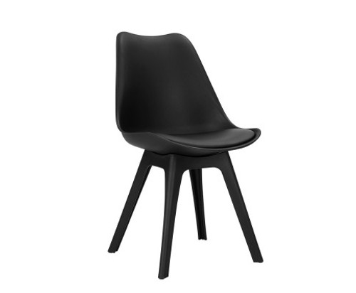 DIMARIA (SET OF 4) PU LEATHER DINING CHAIR - BLACK