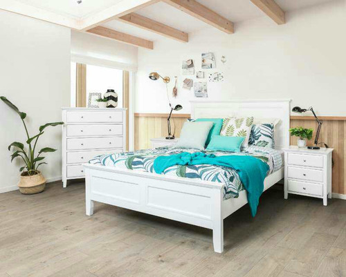 BALLINA DOUBLE OR QUEEN 6 PIECE (THE LOT) BEDROOM SUITE - WHITE