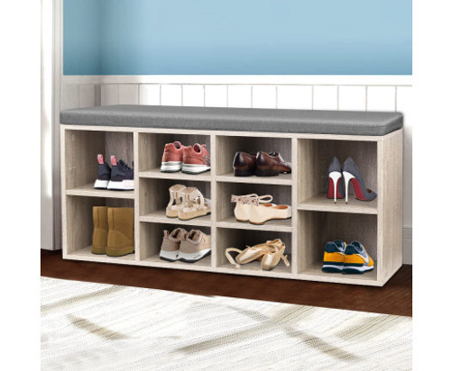 CACAU FABRIC SHOE BENCH WITH STORAGE CUBES - WOODEN