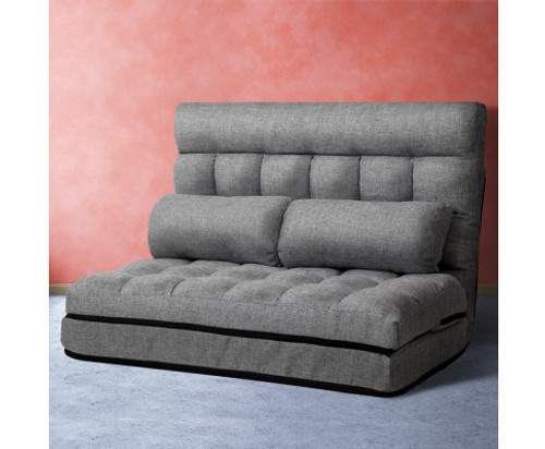 ACHILLES  2 SEATER FABRIC FLOOR LOUNGE SOFA BED  - GREY