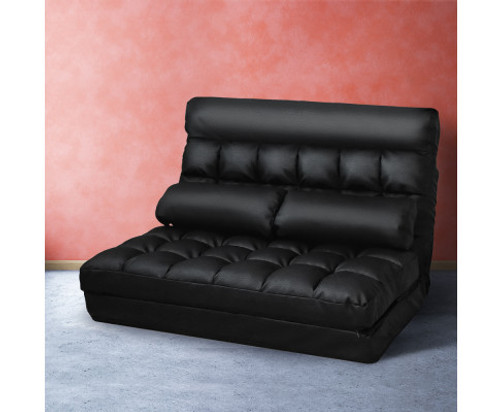ACHILLES  2 SEATER  PU LEATHER FLOOR LOUNGE SOFA BED  - BLACK