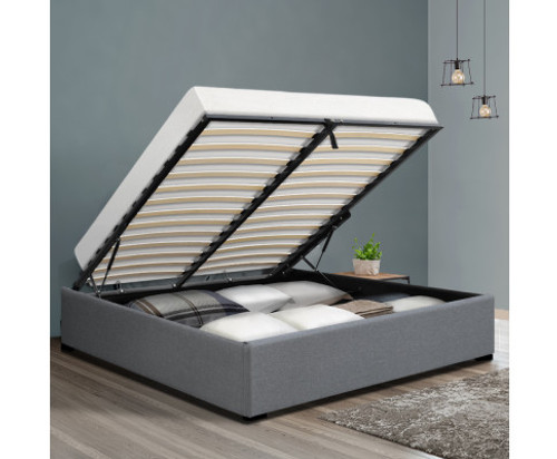 DOUBLE ARMANI FABRIC BED WITH GAS LIFT - GREY