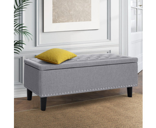 AIDEN FABRIC BLANKET BOX OTTOMAN STORAGE -  LIGHT GREY